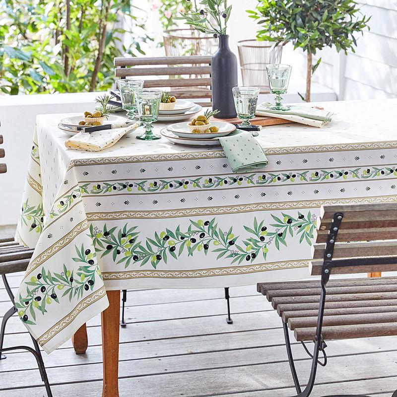 mediterrane oliven tischdecke mit fleckschutz hagen grote sterreich shop. Black Bedroom Furniture Sets. Home Design Ideas