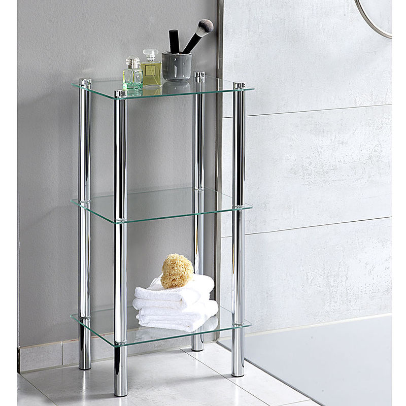 Elegantes Glasregal mit 3 Etagen sorgt für mehr Platz im Bad