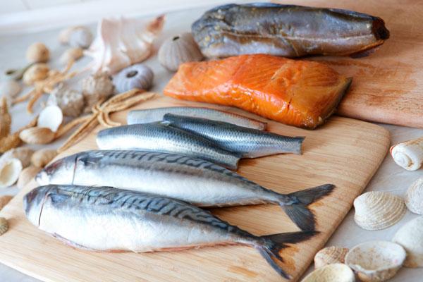 Verschiedene frische Fische